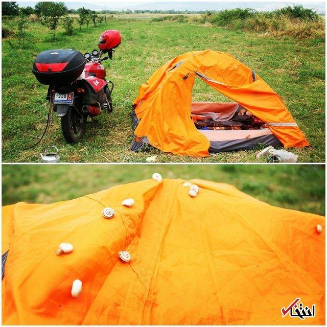 جهانگردیِ ارزان یک ایرانی با موتورسیکلت+ تصاویر