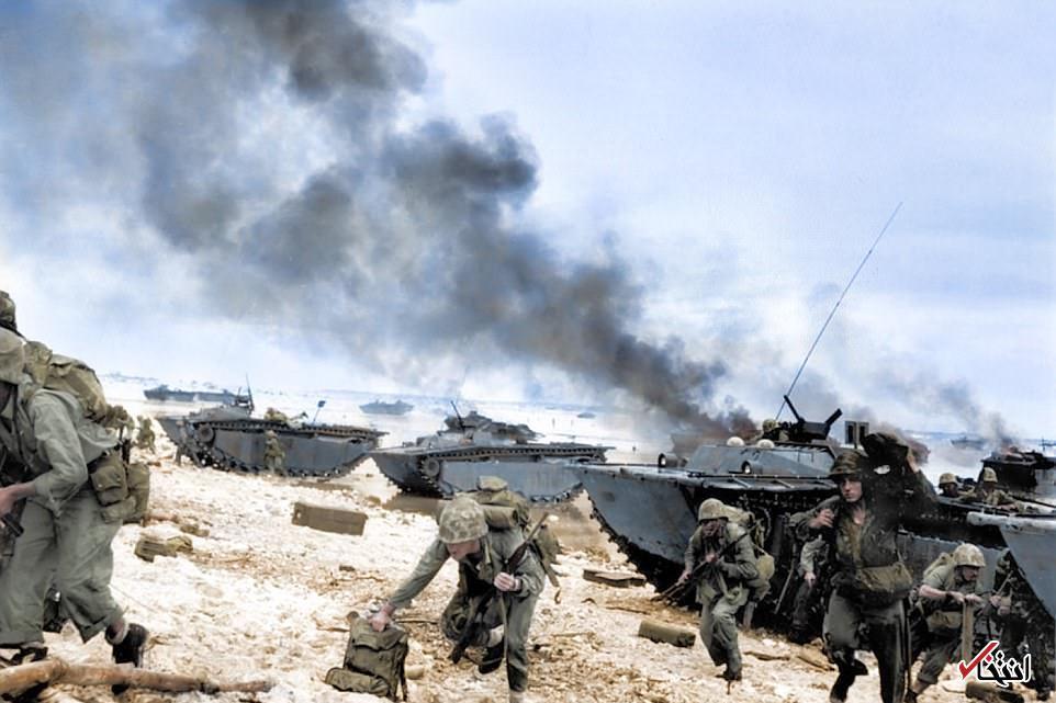 تصاویر رنگی از سربازان آمریکایی در جهنم جنگ اقیانوس آرام