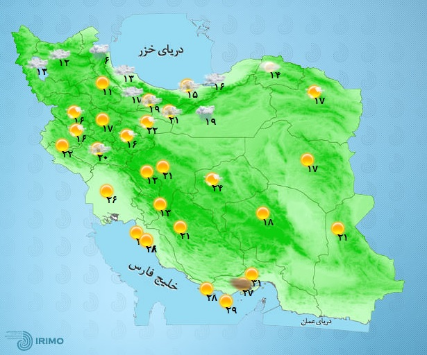 وضعیت آب و هوا، امروز 16 اردیبهشت 1400 / رگبار و رعدوبرق و وزش باد شدید موقت در 8 استان