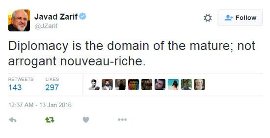 توییت ظریف: دیپلماسی، عرصه ی افراد کارآزموده است، نه تازه به دوران رسیده های متکبر