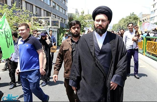 تصویر: «سید علی خمینی» نوه امام (ره) در راهپیمایی امروز