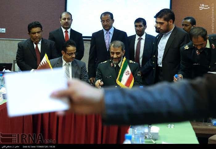 عکس: امضاء تفاهم نامه فرماندهان مرزبانی ایران و قطر
