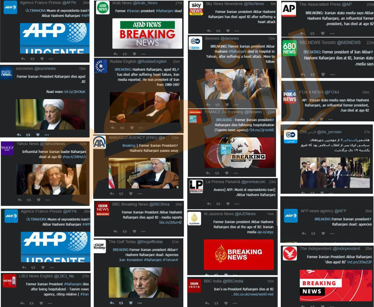 واکنش رسانه های دنیا به درگذشت آیت الله هاشمی رفسنجانی