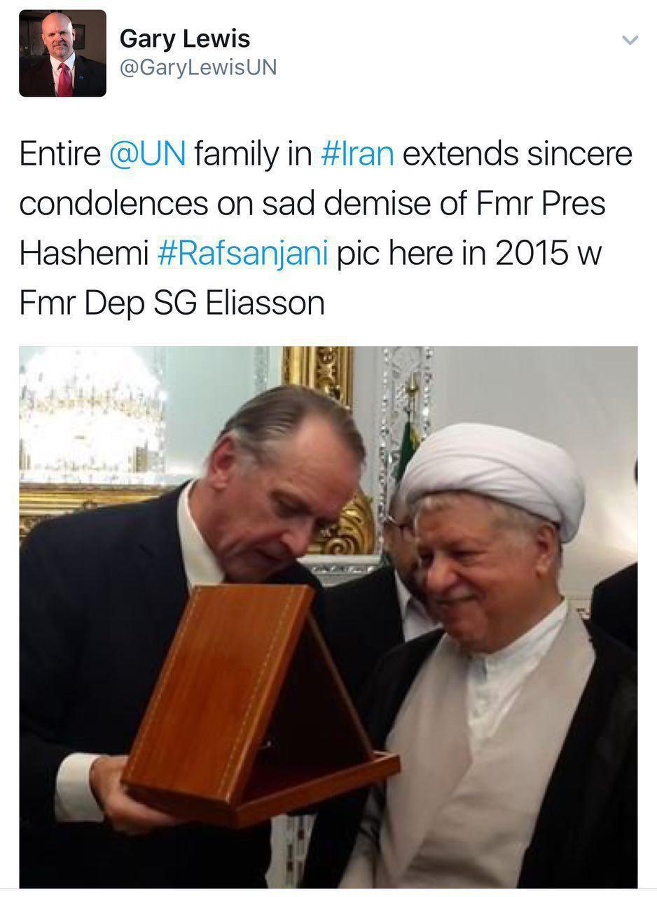نماینده سازمان ملل متحد در ایران درگذشت آیتالله  هاشمی رفسنجانی از طرف تمام کارکنان این سازمان تسلیت گفت