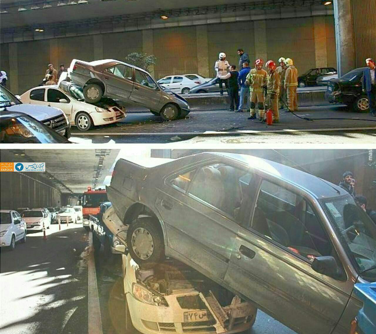 تصادف زنجیرهای در بزرگراه یادگار امام+تصاویر