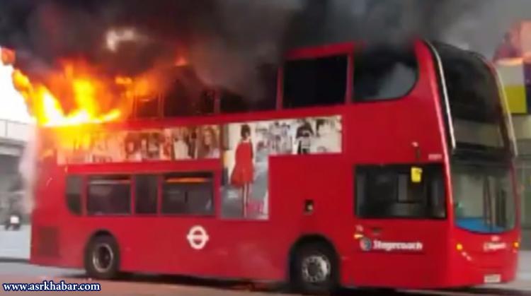 حریق شدید اتوبوس دو طبقه در انگلیس