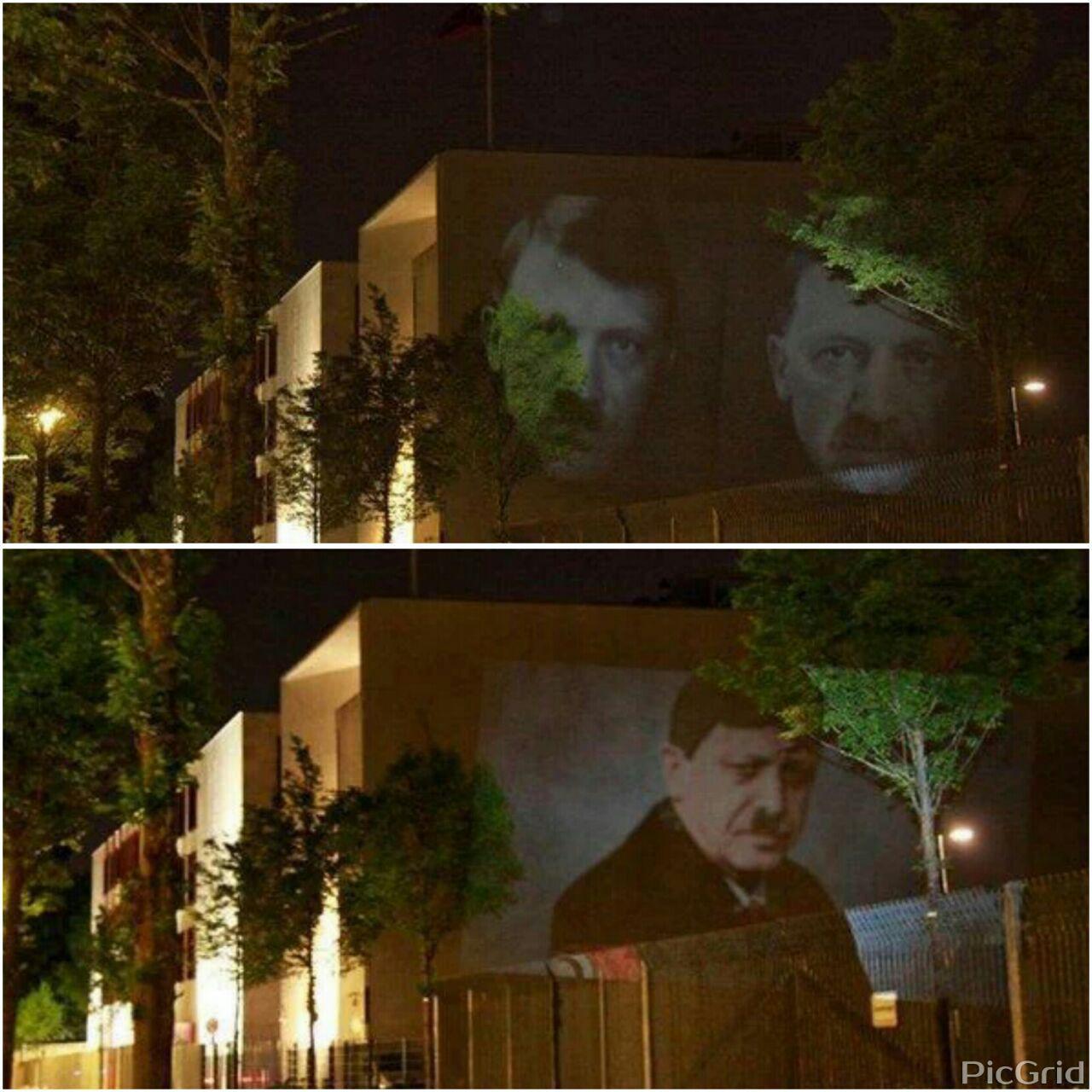 اردوغان و هیتلر روی دیوار سفارت ترکیه در آلمان
