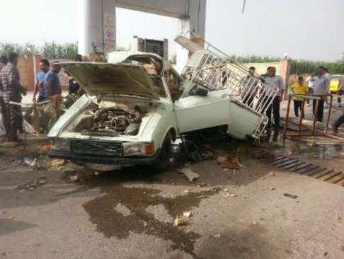 انفجار در جایگاه سی ان جی در شوش خوزستان (عکس)
