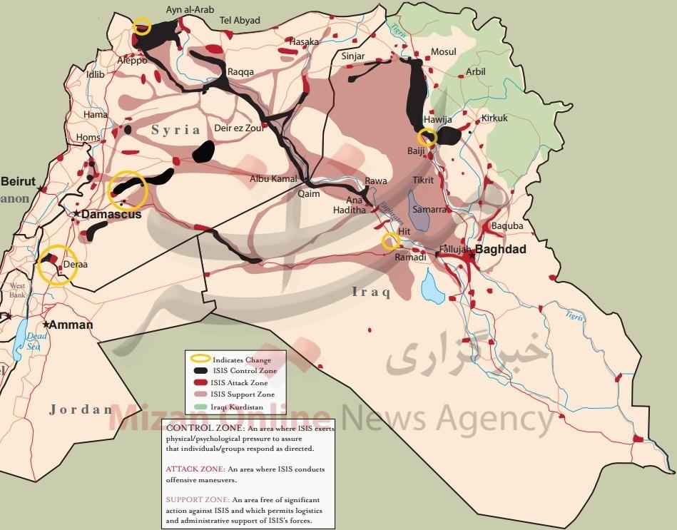 داعش چه مقدار از خاک عراق و سوریه عقب نشینی کرده است؟ + نقشه