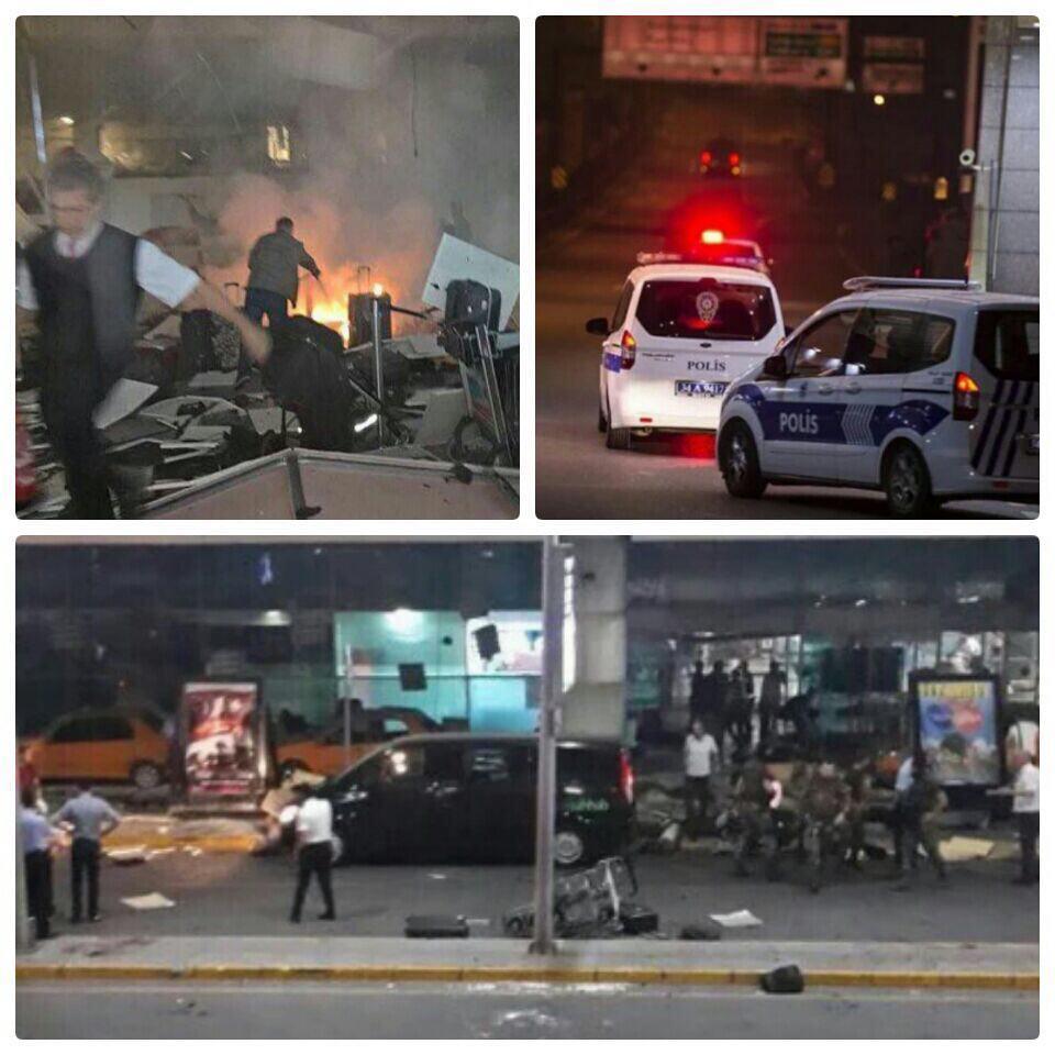 فوری: انفجار و تيراندازي در بخش مسافرین فرودگاه آتاتورک استانبول/به گفتهي مقامات ترك، چندين نفر زخمي شده اند + تصویر
