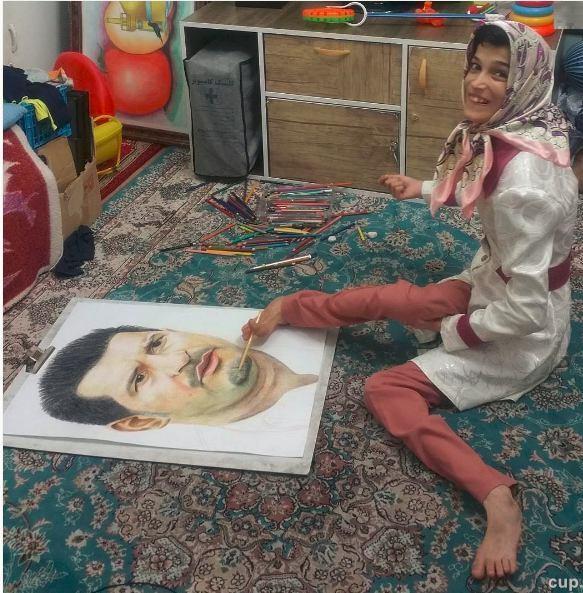 عکس/ طراحی زیبای دختر معلول از علی دایی