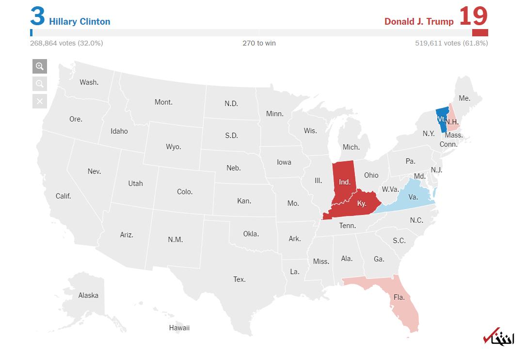 اخبار لحظه به لحظه خبرنگار «انتخاب» از نتایج انتخابات آمریکا+تصاویر / انتشار نتایج اولیه / پیروزی ترامپ در کنتاکی و ایندیانا / هیلاری ورمونت را برد
