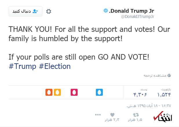 اخبار لحظه به لحظه خبرنگار «انتخاب» از نتایج انتخابات آمریکا+تصاویر / انتشار نتایج اولیه؛ پیروزی ترامپ در کارولینای جنوبی، کنتاکی، ویرجینیایغربی و ایندیانا / هیلاری ورمونت را برد/ ترامپ 51 رای الکترال و هیلاری 44 رای الکترال دارد