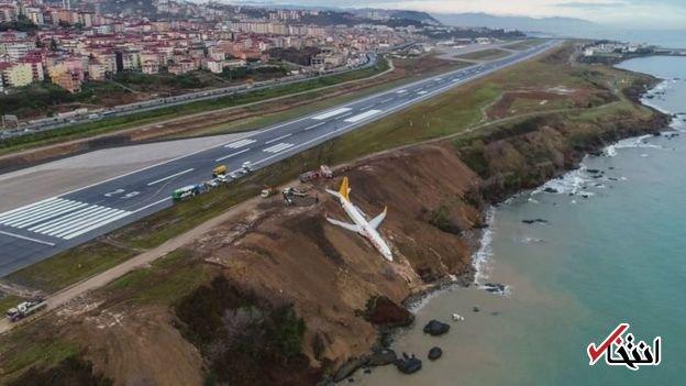 لغزندگی باند فرودگاه در ترکیه، هواپیما را تا لب دریا کشاند +عکس