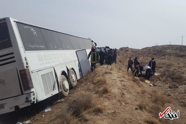 واژگونی اتوبوس در جاده فسا- شیراز ۱۵ زخمی برجا گذاشت
