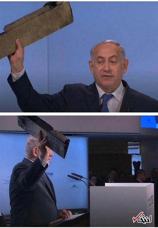 نتانیاهو: اگر لازم باشد علیه ایران اقدام می کنیم / ما را آزمایش نکنید / نمایش لاشه ادعایی پهپاد ساقط شده توسط نخست وزیر اسراییل