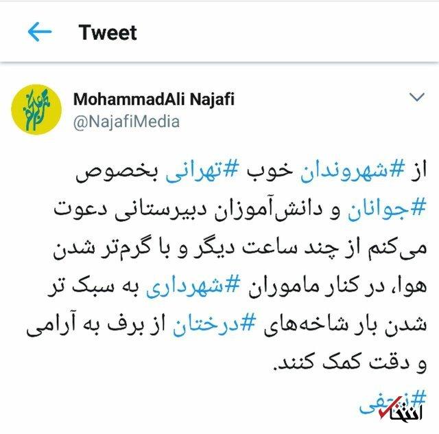 نجفی: جوانان تهرانی در تکاندن برف درختان به شهرداری کمک کنند