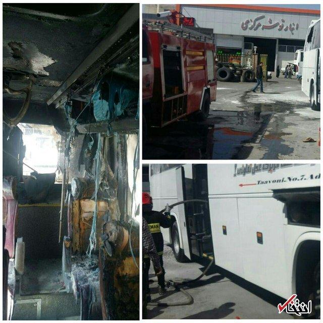 اتوبوس مسافربری در ترمینال کرمان آتش گرفت