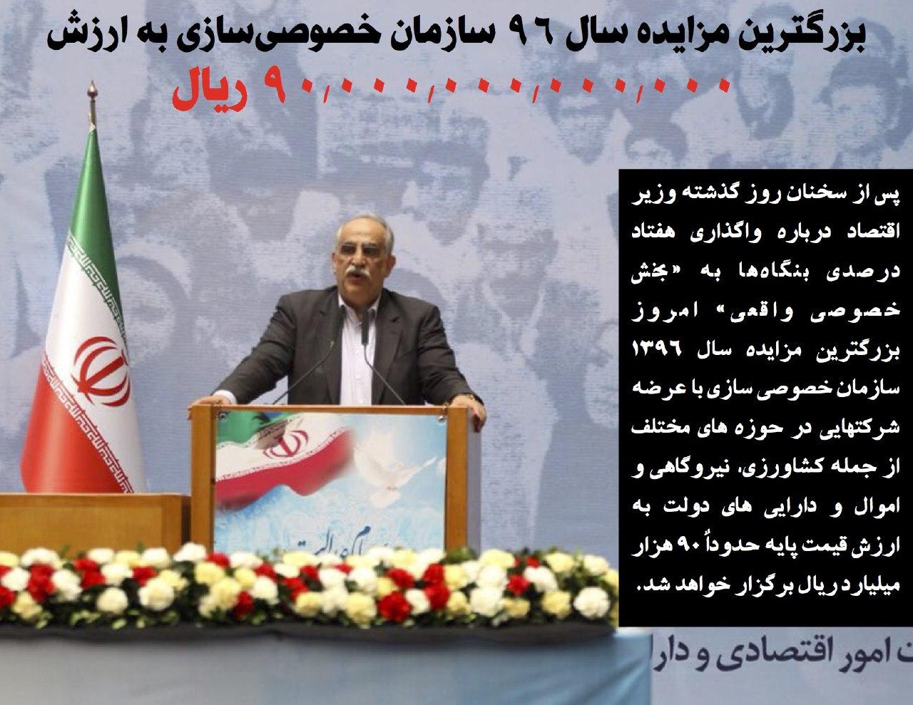اخبار سینمای ایران     بزرگترین مزایده سال ۹۶ سازمان خصوصی سازی به ارزش ۹۰ هزار میلیارد ریال