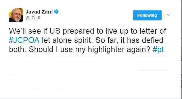 توئیت ظریف در واکنش به اظهارات ترامپ