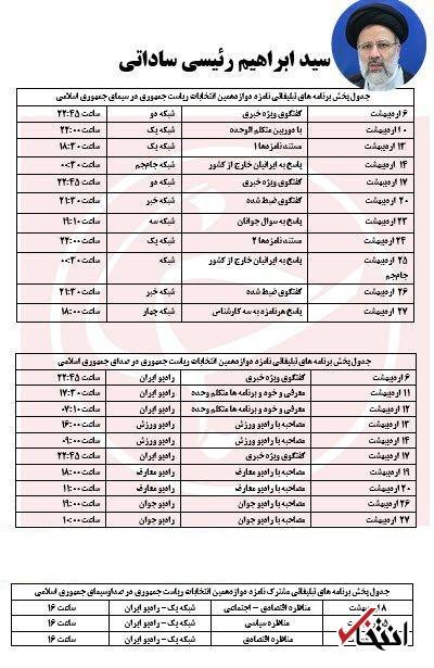 جدول برنامه های تبلیغاتی کاندیداها / 9 اردیبهشت؛ نخستین گفتگوی انتخاباتی روحانی و جهانگیری در تلویزیون