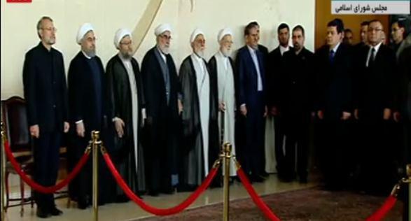 عکس/ حضور سران سه قوه در مراسم وداع با پیکر شهدای حادثه تروریستی تهران