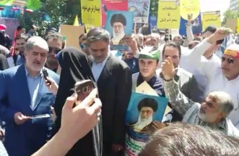 فیلم/ شعار و توهین دلواپسان علیه مطهری، نایب رئیس مجلس در راهپیمایی روز قدس