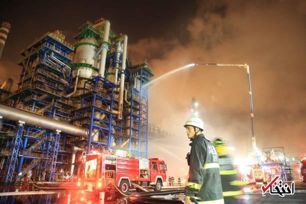 تصاویر : آتش سوزی مهیب در پالایشگاه دولتی نفت چین