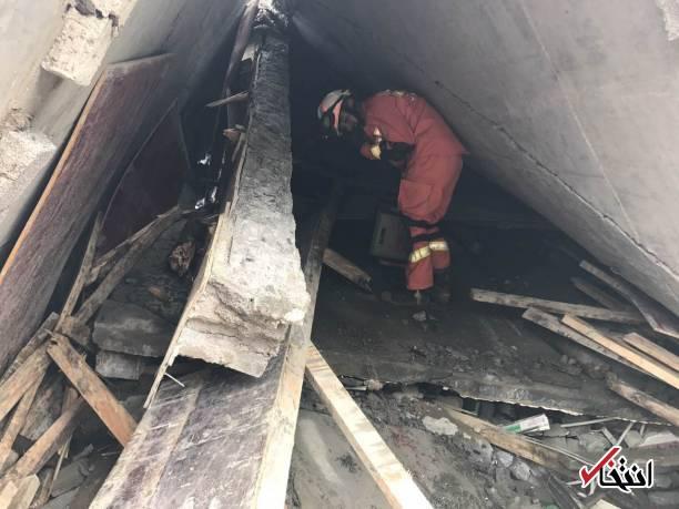 عکس/ دو کشته و ۲۵ مفقود بر اثر رانش زمین در چین
