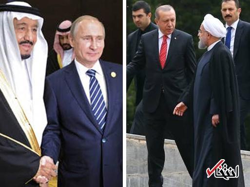 اردوغان در تهران، ملک سلمان در مسکو؛ خاورمیانه در آستانه ورود به مرحلهای جدید است؟/ نگاه سعودیها به ائتلاف ایران و ترکیه در ماجرای کردستان عراق چیست؟