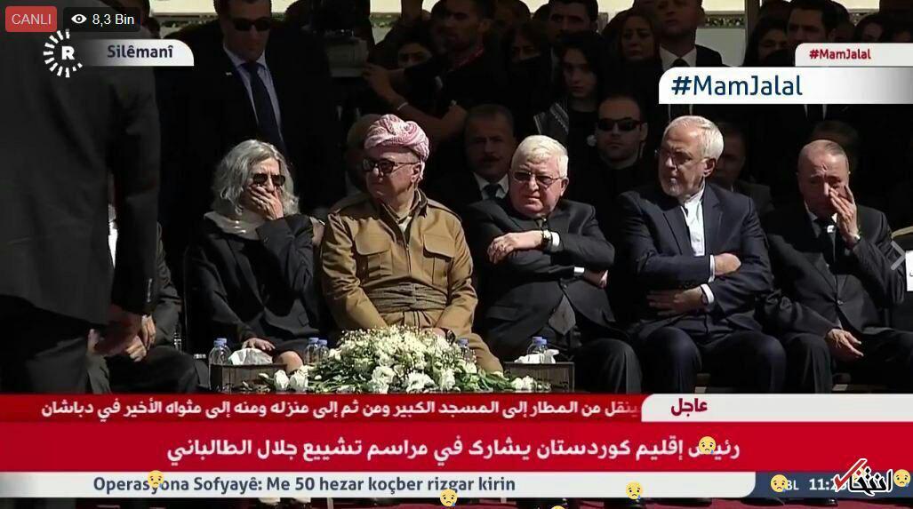 فواد معصوم و بارزانی در کنار ظریف در مراسم تدفین طالبانی +عکس