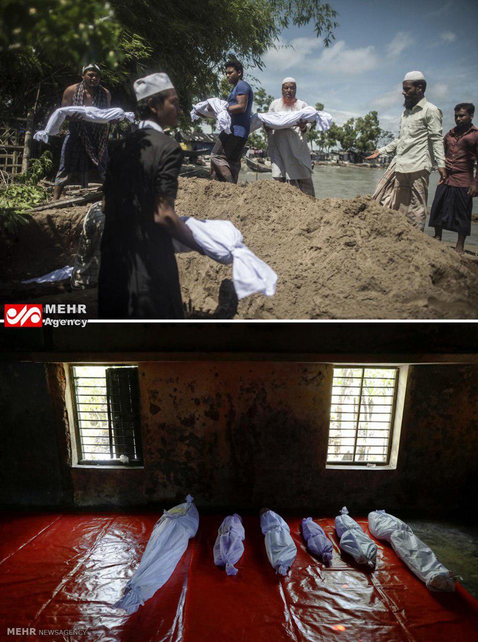 عکس/ غرق شدن قایق مسلمانان میانماری