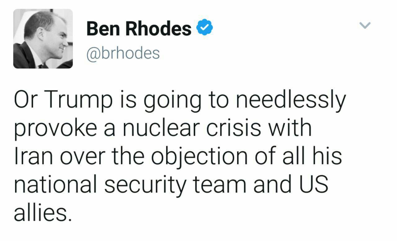 مشاور اوباما: ترامپ به دنبال ایجاد بحران هسته ای با ایران است