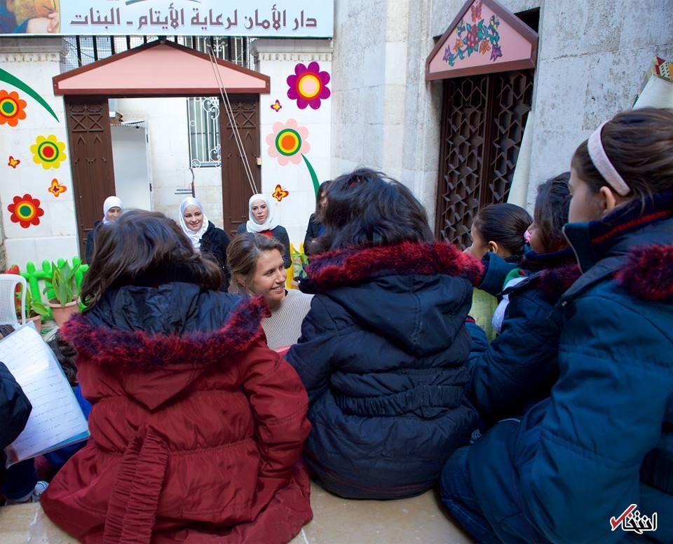 عکس/ همسر بشار اسد به دیدن ایتام رفت