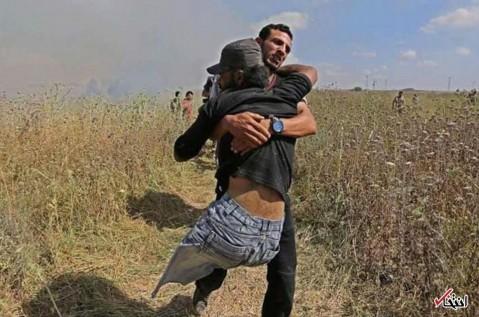 تصاویر : شهادت معلول فلسطینی در درگیریهای جمعه خشم