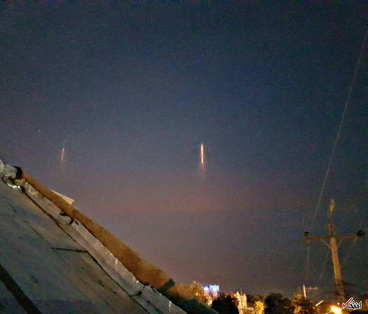 نور عجیب در آسمان شوشتر ، مسجد سلیمان ، گتوند و لالی 30 آذر 96