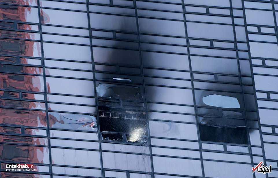 تصاویر : آتشسوزی در یکی از طبقات فوقانی برج ترامپ