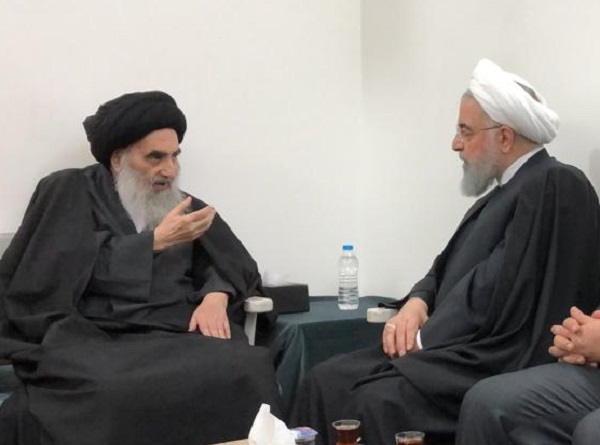 Image result for آیتالله سیستانی در دیدار با روحانی