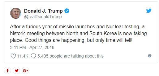 توئیت ترامپ درباره توافق دو کره: اتفاقات خوبی در حال رخ دادن است اما تنها گذر زمان همه چیز را مشخص میکند