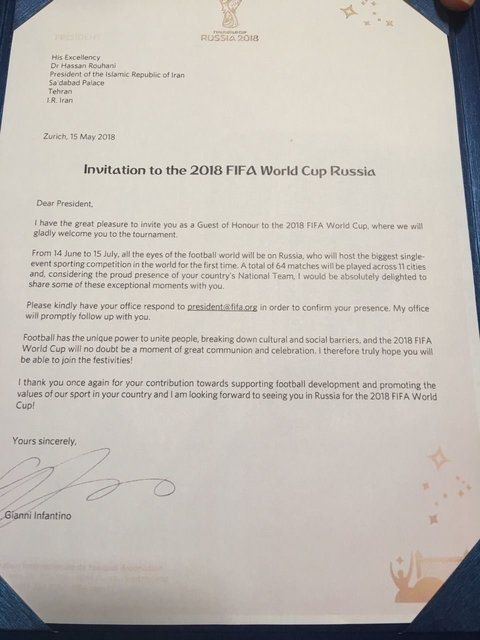 دعوت رییس فیفا از روحانی برای حضور در افتتاحیه جام جهانی و سه بازی ایران