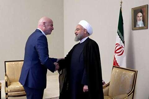 دعوت رییس فیفا از روحانی برای حضور در افتتاحیه جام جهانی و تماشای سه بازی ایران