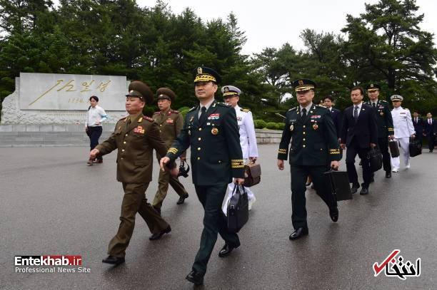 عکس/ ورود وزیر دفاع کره جنوبی به کره شمالی
