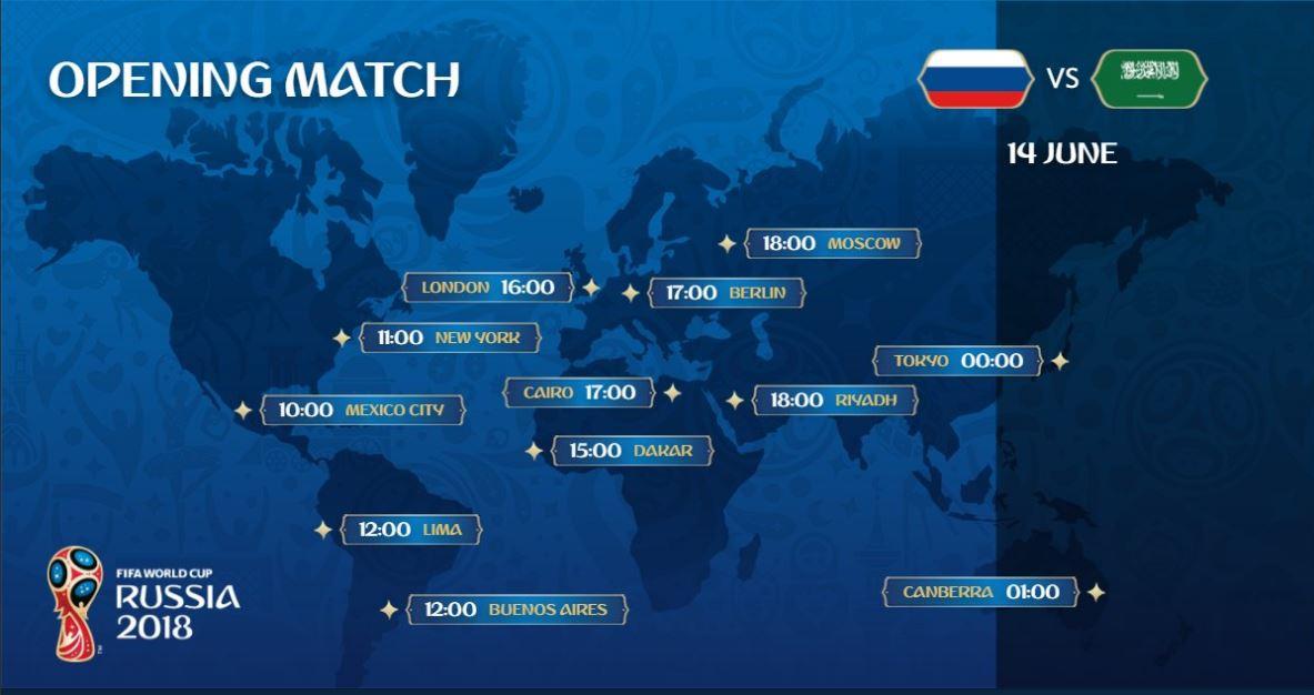 زمان پخش دیدار افتتاحیه بین روسیه و عربستان در نقاط مختلف جهان+عکس