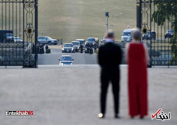 عکس/ ترامپ با همسرش وارد انگلیس شد