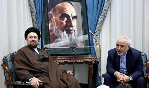 ظریف در دیدار با سیدحسن خمینی: سیاست ایران هراسی اسرائیل را با برجام شکست دادیم / آمریکایی ها یک اتاق جنگ اقتصادی با امید وادار کردین ایران به «تمکین» تشکیل داده اند / امروز اروپا تلاش می کند اقدامات مقابله ای را با آمریکا تدوین کند