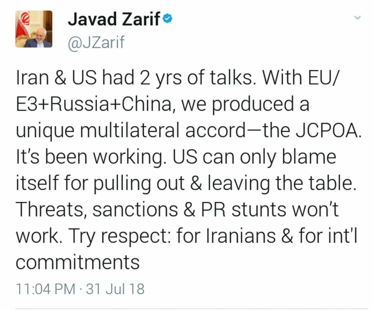 ظریف: تهدید، تحریم و تردستیهای تبلیغاتی علیه ایران موثر نیستند