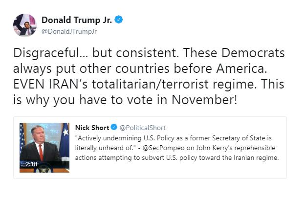واکنش «پسر ترامپ» به دیدارهای «جان کری»: دموکراتها ایران را به آمریکا ترجیح میدهند