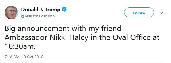 فوری / نیکی هیلی، سفیر آمریکا در سازمان ملل استعفا کرد؛ ترامپ پذیرفت