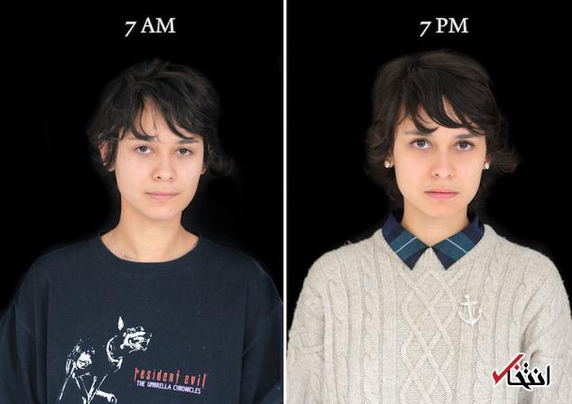 تغییر شگفت انگیز چهره از ساعت 7 صبح تا 7 بعد از ظهر! +تصاویر