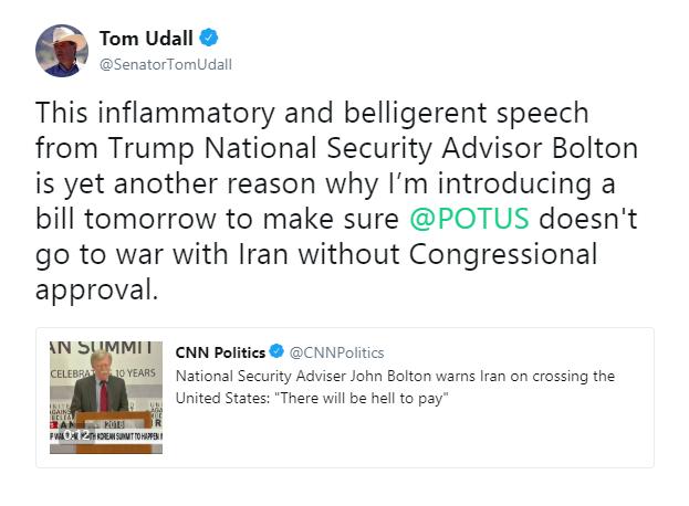 تقدیم لایحه «ممنوعیت حمله نظامی ترامپ به ایران» بدون تصویب کنگره به مجلس سنا